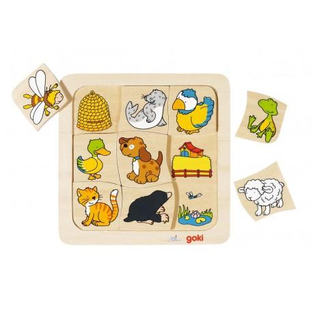 Drewniana zabawka dla dwólatka Układanka - gdzie mieszkają zwierzęta zajaca zastosowanie w integracji sensorycznej